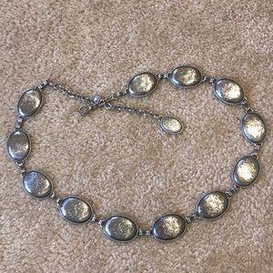 Accessories - Silver Detailed Metal Disk Belt